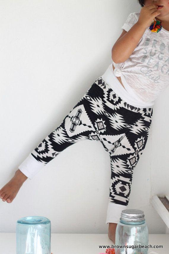 Kids Summer Sarouels- 6m-6y, harem pants, black & white graphic aztec ethnic print jersey, white jersey yoga waistband/cuff