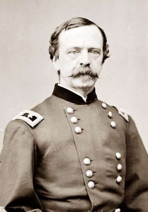 """This is Maj. Gen. Daniel E. Sickles, the first person in U.S. history to use the  temporary-insanity defense — and to win acquittal with it. In 1859,  while serving as a congressman from New York, he shot and killed Philip  Barton Key II, his wife's lover and the son of ""Star Spangled Banner""  writer Francis Scott Key.""  Oct 20, 1819 - May 3, 1914."