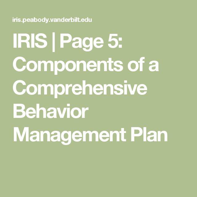 IRIS | Page 5: Components of a Comprehensive Behavior Management Plan