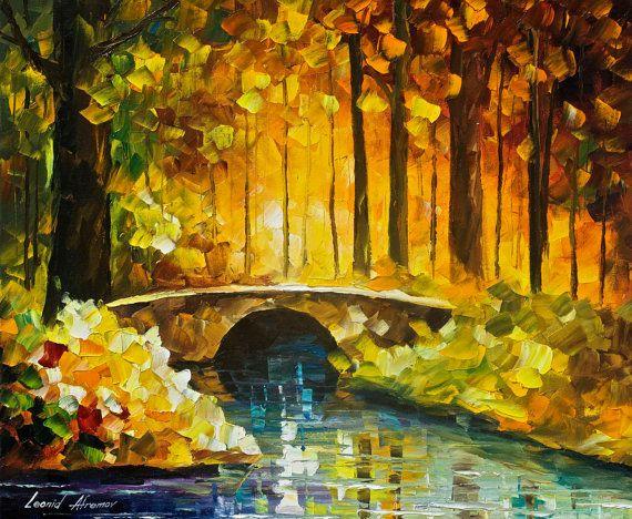 Morning Bridge — Calm Landscape Oil Painting On Canvas By Leonid Afremov. Soft…