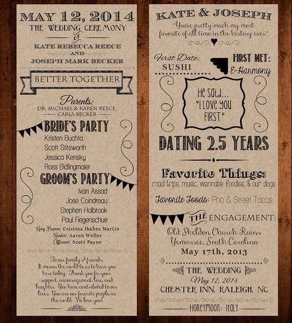 Our Love Story / Wedding Program Printable / 4.25x11 - Bride, Groom, Invitation, Ceremony, Kraft Paper, Chalkboard, Anniversary, Engagement