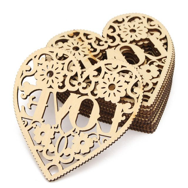 New Arrival 10pcs Laser Cut Decorative Heart Unfinished Wooden Shapes Craft…