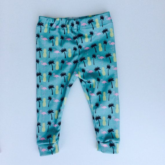 100% Organic Cotton Baby leggings  by PalmRowPrints on Etsy made in the USA  Flamingo/ palm tree / pineapple