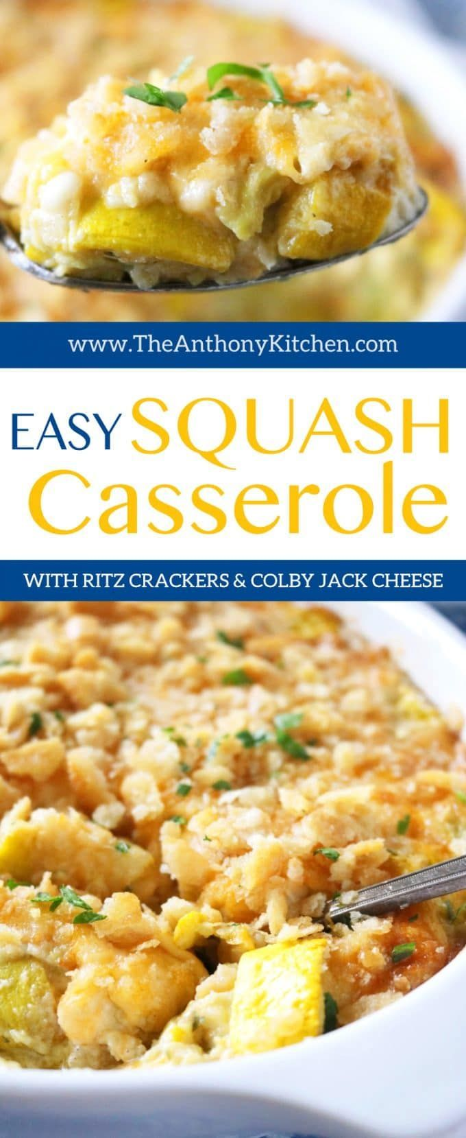 Easy Squash Casserole with Ritz Crackers | A recipe for the very best Southern squash casserole, featuring yellow squash, cheese, and Ritz crackers. Perfect for barbecues, family dinners, potlucks, and more! | #potluckrecipes #vegetablesidedish #squashrecipes #casserole