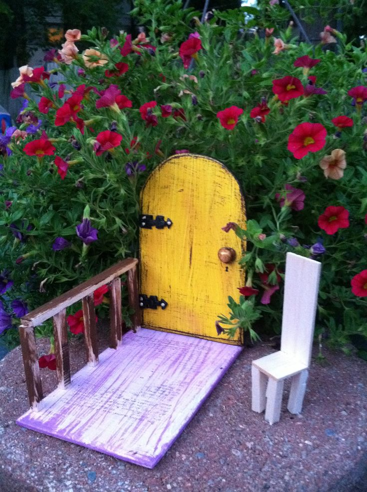 Garden Fairy Door, Magic, Fantasy, distressed yellow,outside decor.