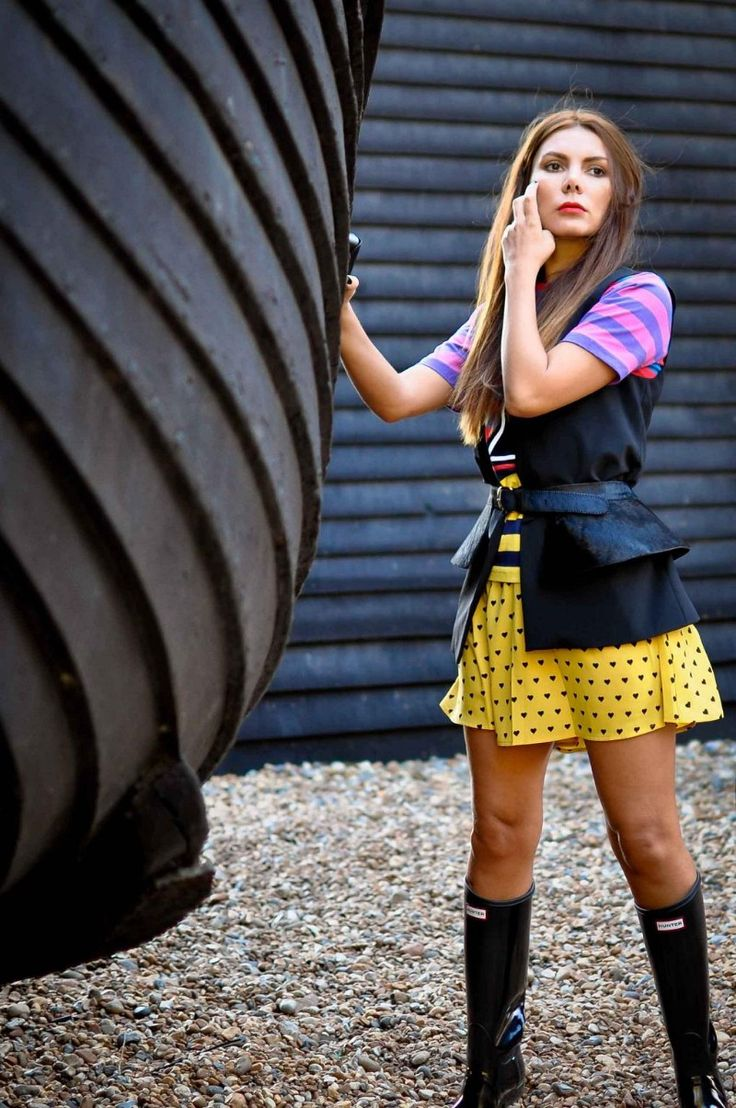 House of Holland number 7 tee with multi coloured stripes   ASOS heart print dipped hem skirt   Zara black waistcoat / vest ~ s...