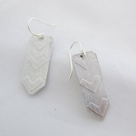 Relief Embossed Aluminum Chevron Earrings - tap, personalize, buy right now!