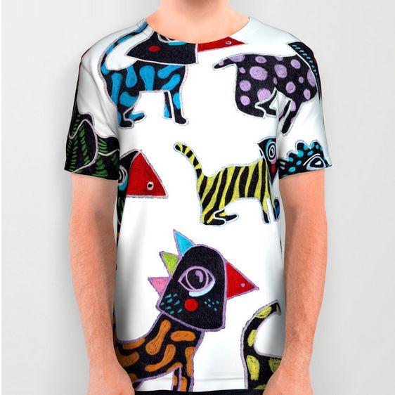 Animal Carnival, t-shirt for kids and adults. Illustration by Elena Losada.  Shop: https://society6.com/product/aimal-carnival_all-over-print-shirt?sku=s6-7923926p44a57v420