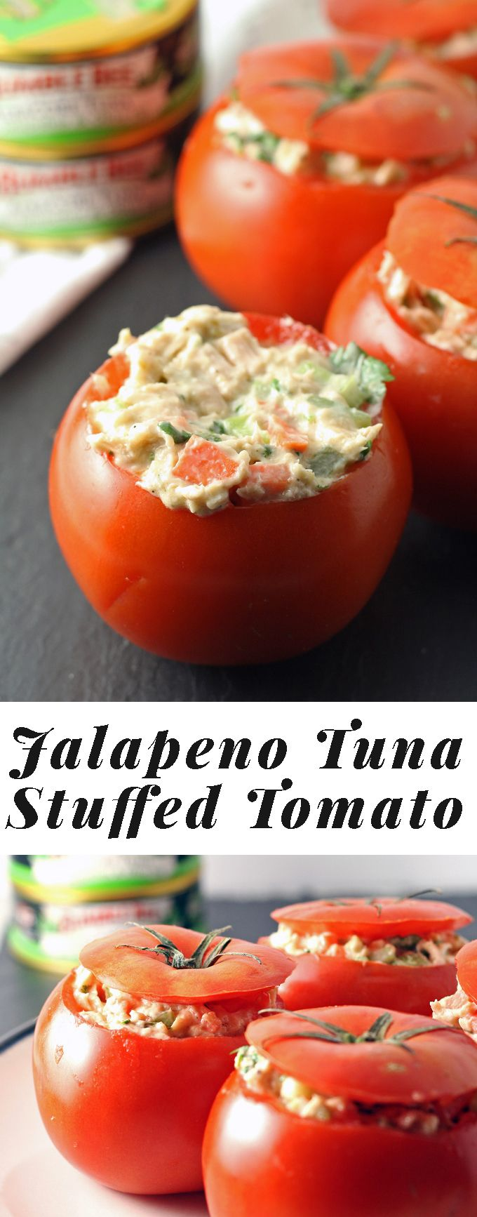 Jalapeno Tuna Stuffed Tomato Recipe - perfect for a quick lunch! | honeyandbirch.com