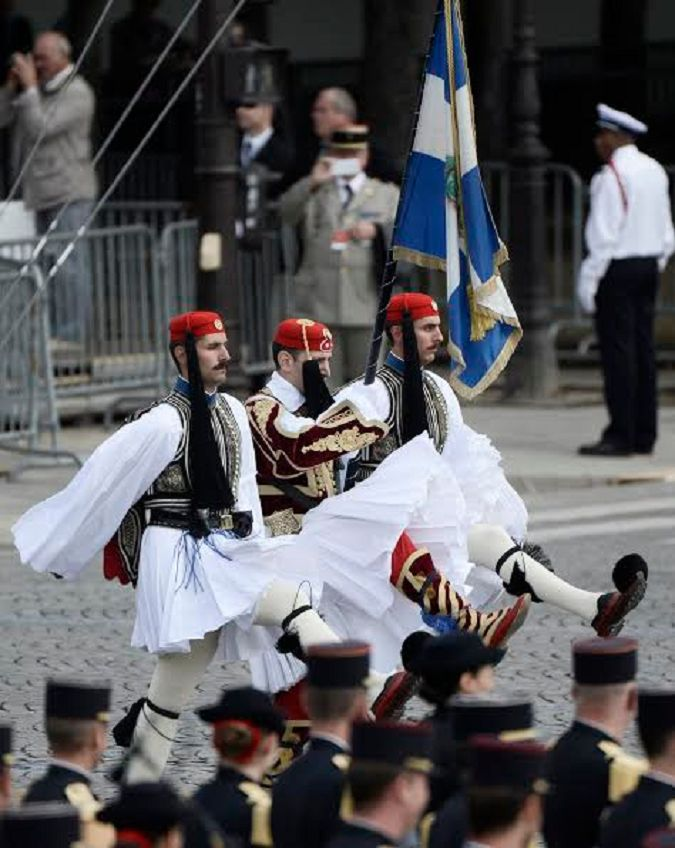 Evzones of the Greek Presidential Guard represent Greece in the Celebrations for the 100 years since the beggining of WW1, in Champs Elysees France.