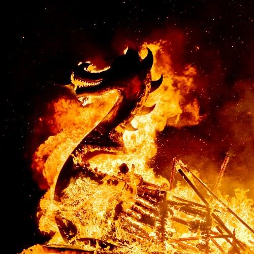 Uphellyaa Scotland.  The Galley on her way to Valhalla at the end of the procession within the burning site. Photo by David Gifford.