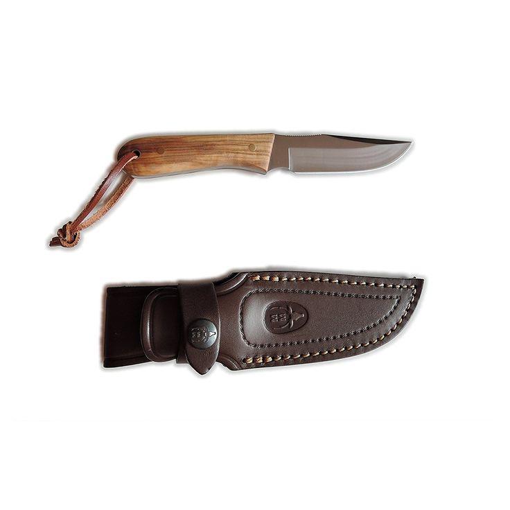 Cuchillo de caza Muela Bisón BISON-9.OL, cachas de madera de olivo, enterizo, tamaño total de 18 cm + tarjeta multiusos de regalo: Amazon.es: Electrónica