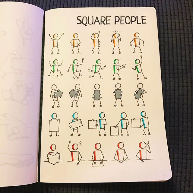 via @morganhlane on Instagram @therevisionguide My effort at this weeks challenge, drawing square people! Need to try and add these to my sketchnotes more often!#revisionguide_52wvv #52wvv_week4 #doodles #sketching #cartoons #sketchnotes #visualthinking #leuchtturm1917 #copicmarkers #kurecolor #graphgear1000
