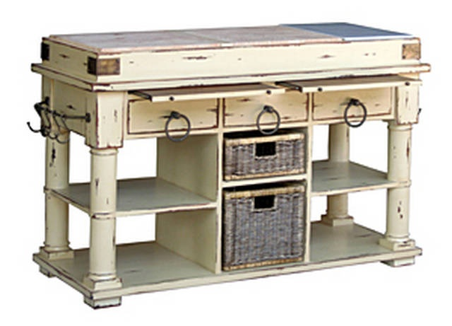 Cortland Kitchen Island w/Baskets - French Provincial Country Style Furniture at Maison Living