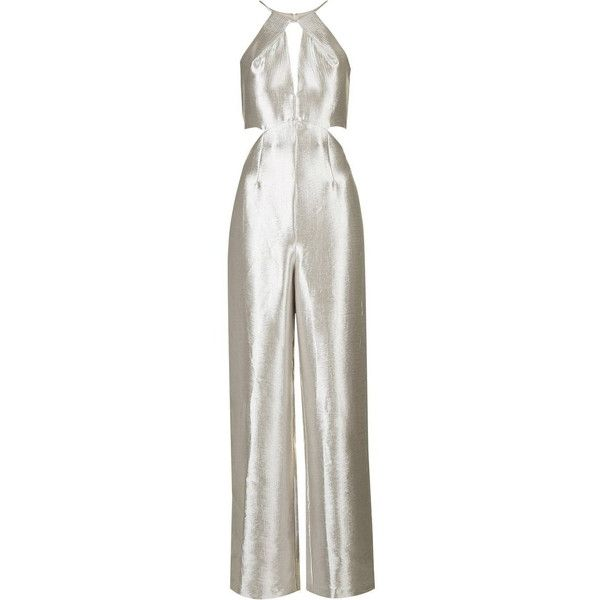 TopShop Metallic Cut-Out Jumpsuit (340 BRL) ❤ liked on Polyvore featuring jumpsuits, silver, cutout jumpsuit, topshop jumpsuit, jump suit, silver jumpsuit and cut out jumpsuit