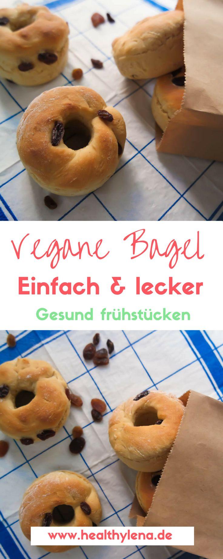 Vegane Bagel mit oder ohne Rosinen - gesund und lecker frühstücken leicht gemacht. Hier geht's zum Rezept für das vegane Frühstück oder den Snack zwischendurch. #backen #lecker #leicht #fettarm #gesund #healthylena #lowfat #sonntag #vegan #ohnesoja #rezepte #brötchen http://www.healthylena.de/rezepte/vegane-bagel-mit-oder-ohne-rosinen-gesund-fruehstuecken/