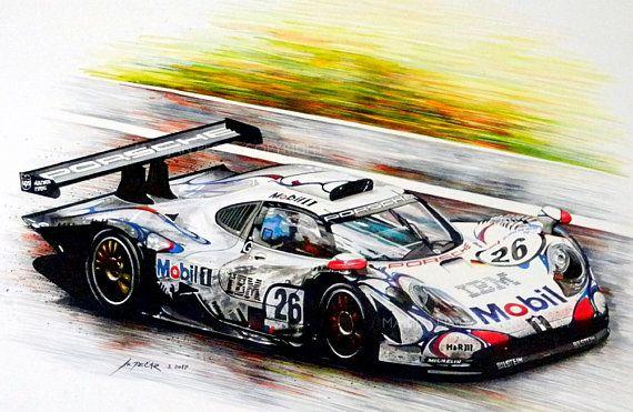 GT 1 Marijan Pecar kunst Sport racewagen aquarel Giclée