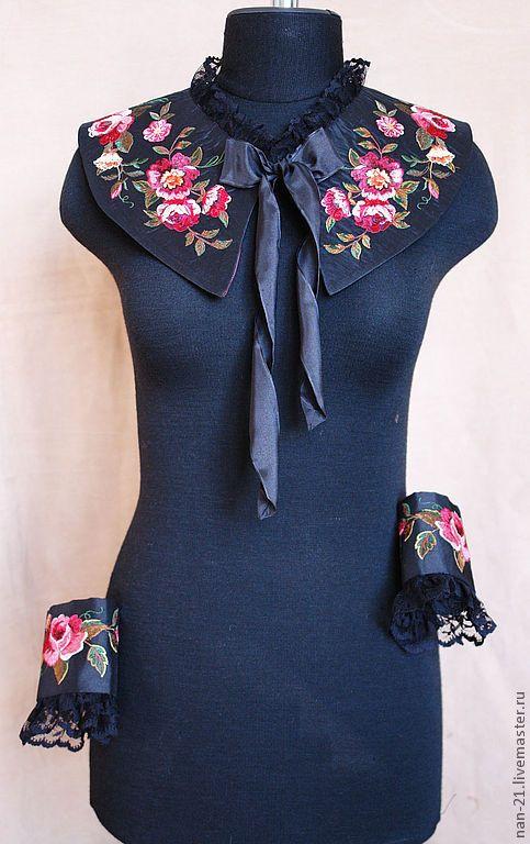 """Купить Воротничок """"Прогулка в саду"""" Авторские аксессуары NAN(продано) - чёрный, цветочный, воротничок, аксессуары, винтаж"""