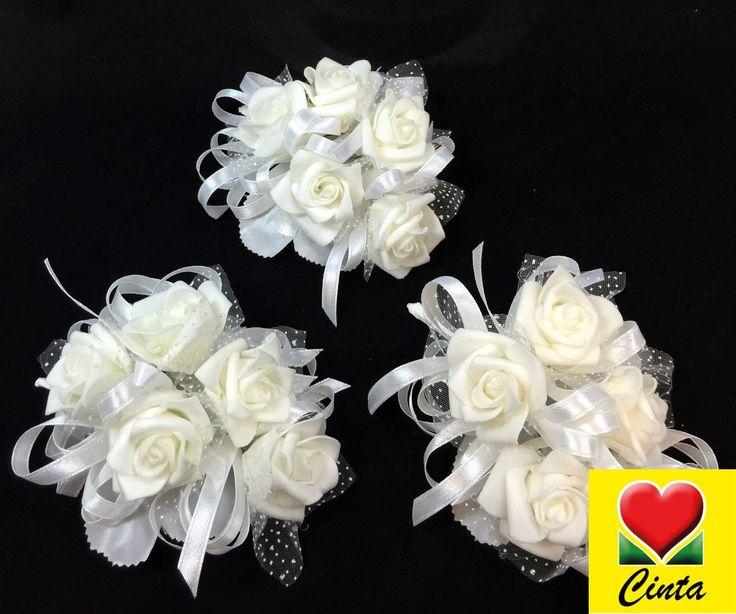 3 X White Foam Roses Corsages Wedding Silk Flower Cintahomedeco | eBay