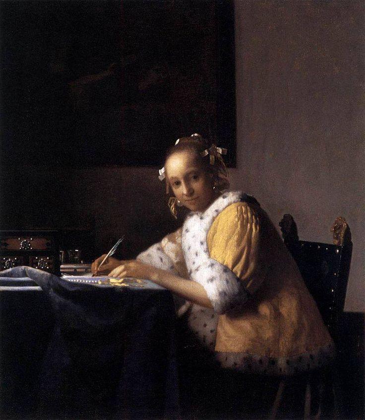 Jan Vermeer Donna che scrive una lettera 1665 circa olio su tela 45×39,9 cm National Gallery of Art, Washington
