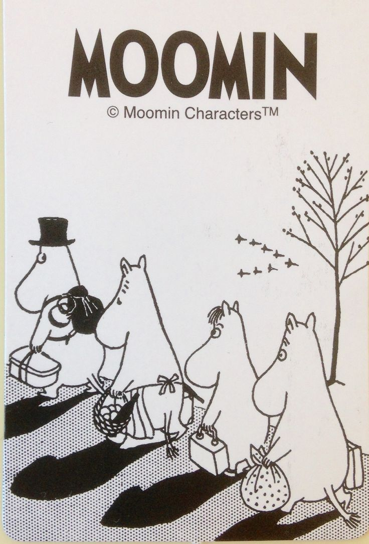 moomin black and white drawing