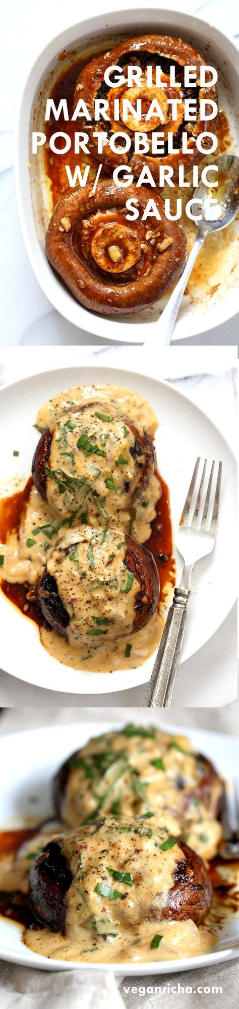 Grilled Portobello Mushrooms with Garlic Sauce. Grilled or Baked Marinated Portabella Mushrooms served with creamy gravy. #Vegan
