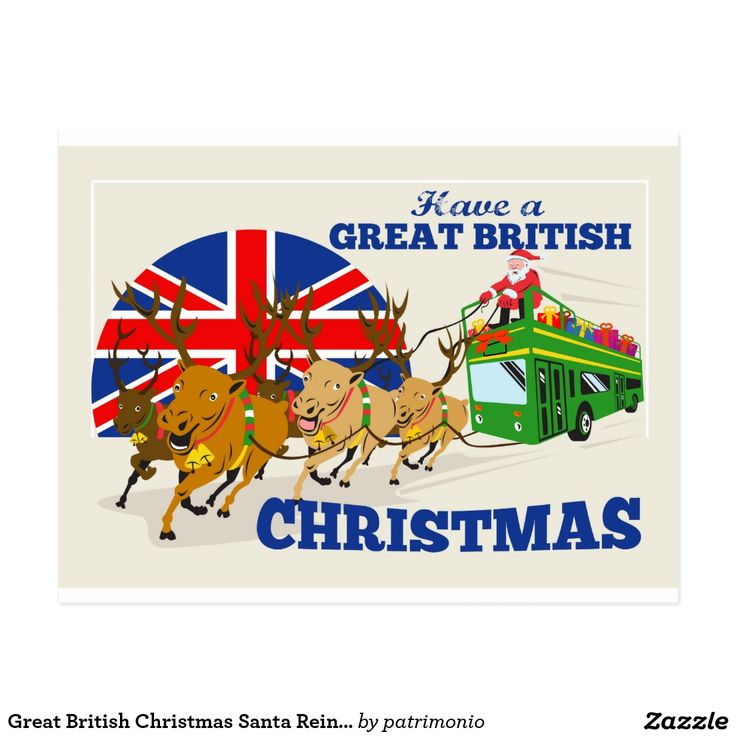 "Great British Christmas Santa Reindeer Doube Decke Postcard. Postcard with a retro style illustration of Santa Claus riding on a double-decker bus with reindeer and the union jack flag with the words ""Have a Great British Christmas."" #greetingcard #Christmas #SantaClaus"