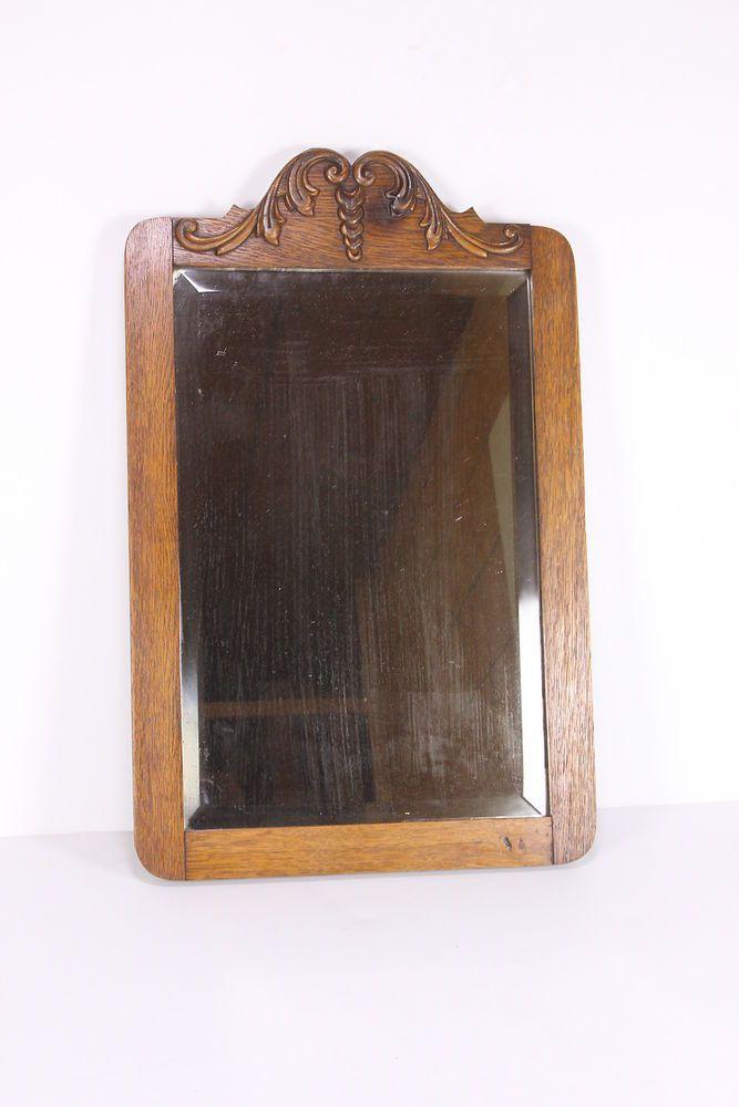 Antique beveled glass solid oak frame wooden mirror heavy vintage beveled glass solid oak and for Beveled glass bathroom mirror