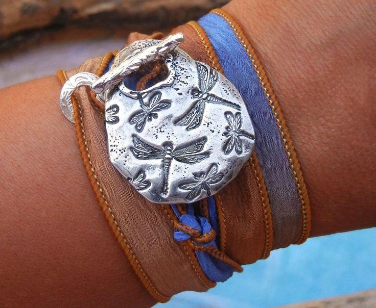 Silk Wrap Bracelet, Wrap Bracelet, Silk Ribbon Bracelet, Silver Silk Wrap Bracelet, Silk Wrap Bracelet Dragonflies, Silver Wrap Bracelet by HappyGoLicky on Etsy https://www.etsy.com/listing/128665020/silk-wrap-bracelet-wrap-bracelet-silk