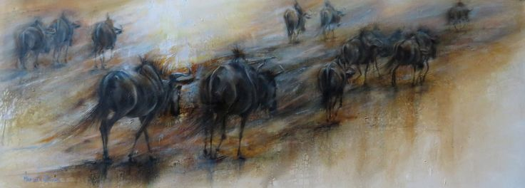 OH,HOW I MISS IT. Oil 120x45 cm . Blue Wildebeest in the beautiful Kgalagadi Transfrontier Park .Artist: Mariana Zwaan