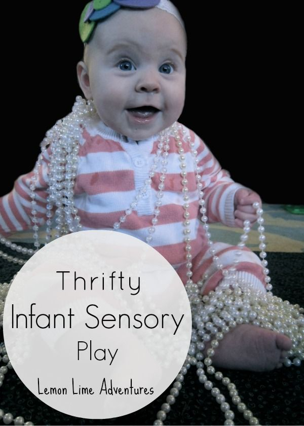 Thrifty Sensory Play big bead garland for $2.50 thrift store