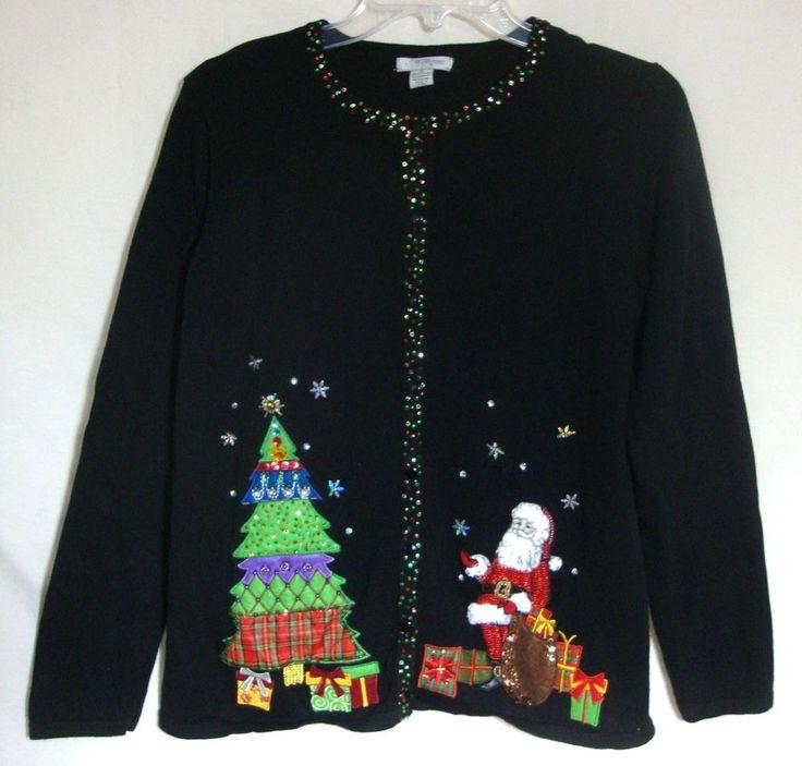 Designer Mercer Street Studio Ugly Christmas Sweater BLING Santa Sequins Small #MercerStreetStudio #Sweater #Christmas