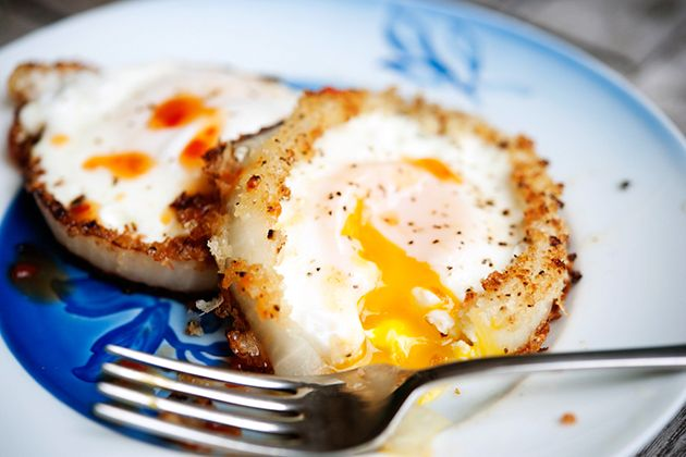 I can't stop thinking about these. Onion Ring Eggs!