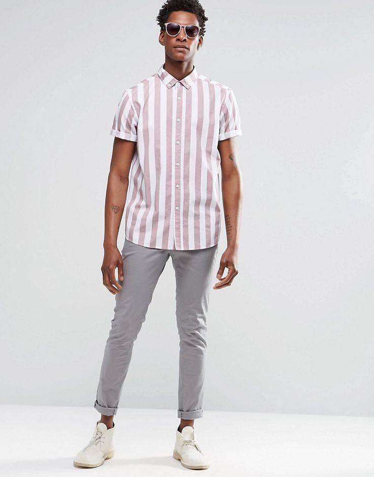 love the vertical stripes / ASOS Men's Shirt Dusty Pink Stripes