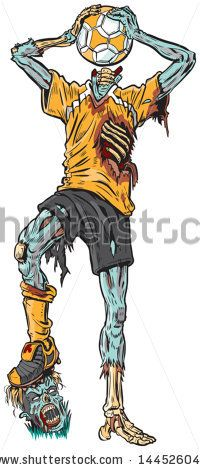 #Vector #cartoon #illustration of a #decayed #zombie #soccer #player who has confused the #ball for his missing head. - stock vector