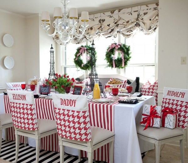 Chair covers rock....great holiday look.