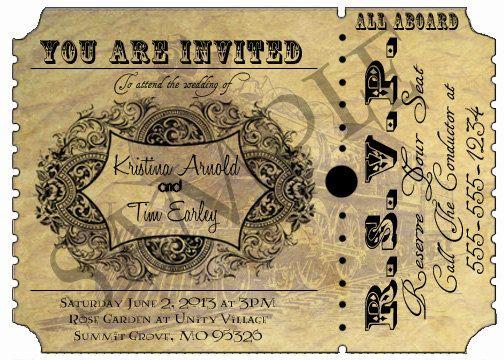 Vintage Train Ticket - Harry Potter Themed Printable, Personalized Wedding Invitation - VWT1000 via Etsy
