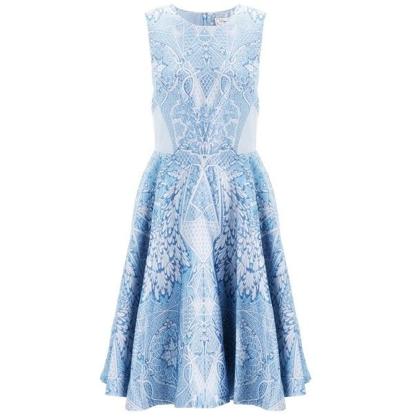 Temperley London China Blue Jacquard Dress found on Polyvore
