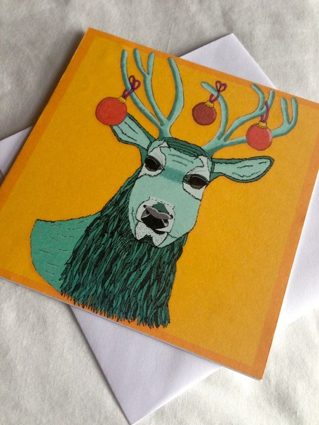 NEW TO MY SHOP Christmas Stag (Yellow Background) Greeting Card  £2.00