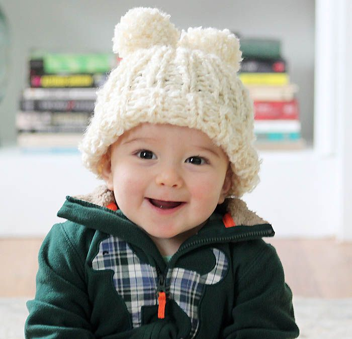 Knit Baby Hat Pattern Pinterest : Beginner knitting pattern for this adorable baby hat with double pom poms! ...