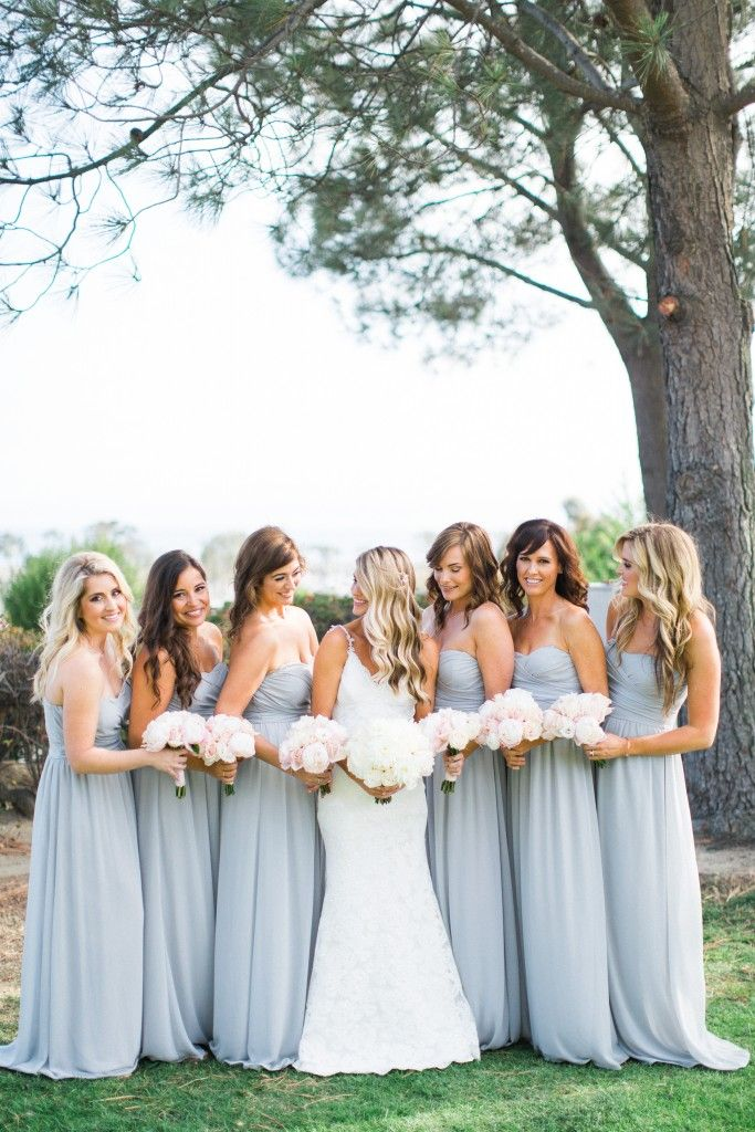 long light gray bridesmaids dresses