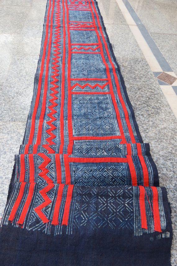 Handwoven Indigo hemp Hmong  Vintage textiles and by dellshop, $119.99