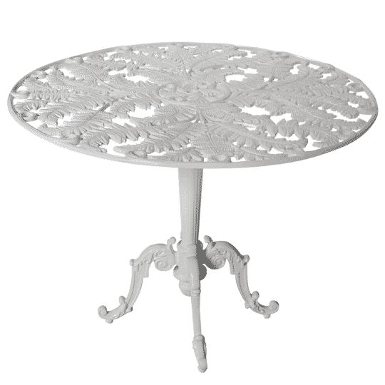 Table ronde Fougère Caractéristiques produit : Hauteur : 0.75 m. Diamètre : 1.20 m. Poids : 10 Kg