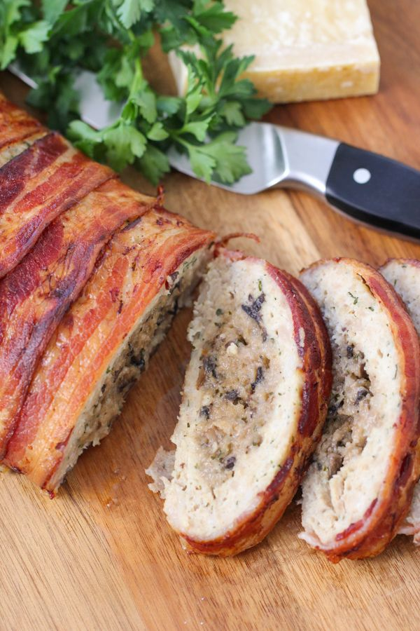 Bacon Wrapped Chicken Meatloaf with Cheesy Mushroom Stuffing