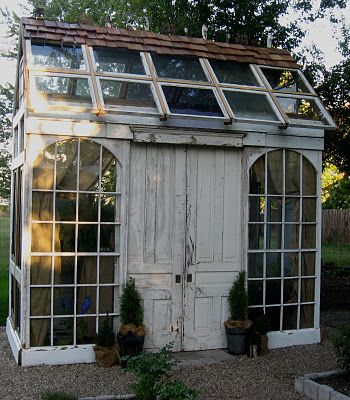 Greenhouse constructed from reclaimed doors, windows and millwork. LOVE!!Garden Sheds, Green Houses, Little Gardens, Old Windows, Greenhouses, Gardens House, Recycle Windows, Pots Sheds, Old Doors