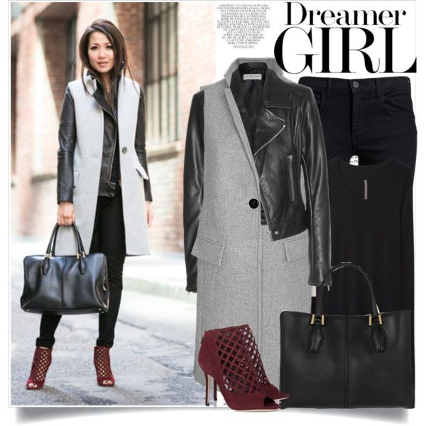 City Layers :: Sleeveless vest & Folded collar jacket by lisamichele-cdxci on Polyvore featuring Rick Owens Lilies, T By Alexander Wang, Balenciaga, Exclusive for Intermix, Proenza Schouler, Jimmy Choo, Tod's and Whiteley