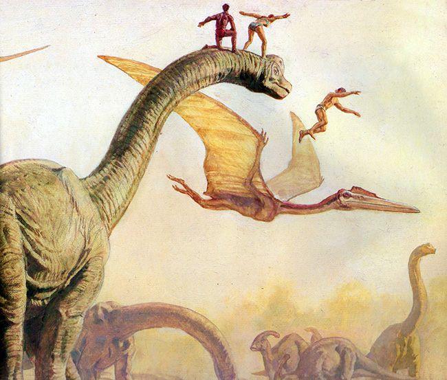 """Trampolim jurássico. Livro """"Dinotopia, O Mundo Subterrâneo"""" Tags: dinossauros, james gurney, pinturas, fantasia"""