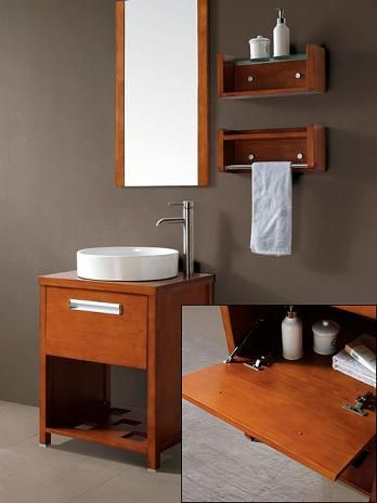 Petite Open Shelf Bathroom Vanities For A Small Bathroom