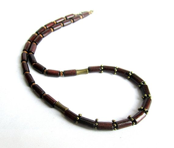 Mens brown wood necklace mens wooden necklace mens wood