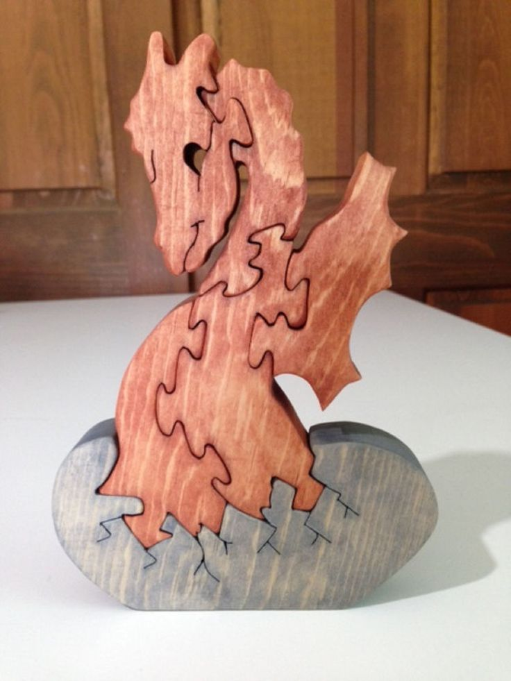 Wooden Dragon Hatchling Puzzle - Handmade - 6 Pieces - Stained